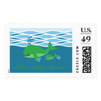 Green Whale Baby Shower Stamp