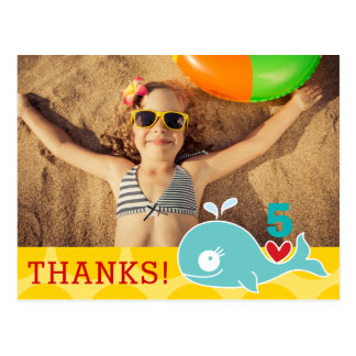 Green Whale Girl Birthday Photo Thank You Postcard