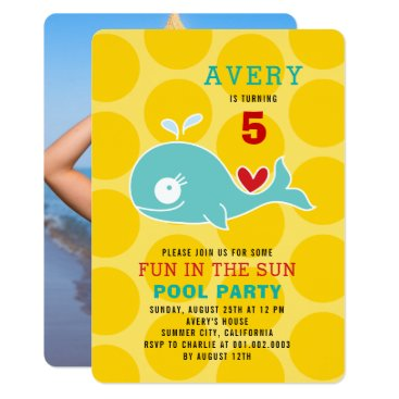 Beach Themed Green Whale Pool Party Girl Photo Birthday Invite