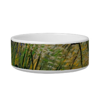 Green Wheat Field with Cypress by Van Gogh. Pet Water Bowls
