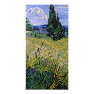 Green Wheat Field with Cypress by Van Gogh Picture Card