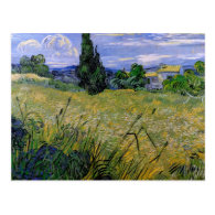 Green Wheat Field with Cypress by Van Gogh. Post Card