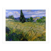 Green Wheat Field with Cypress by Van Gogh. Postcard