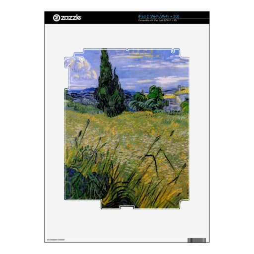 Green Wheat Field with Cypress by Van Gogh. Decals For The iPad 2