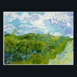 """Green Wheat Fields by Van Gogh Postcard<br><div class=""""desc"""">Postcard with the oil painting,  Green Wheat Fields (1888),  by Vincent van Gogh (1853-1890). Beautiful green fields with swirled clouds and blue sky.</div>"""