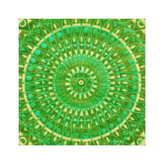 Green wheel Mandala Canvas Print