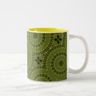 Green Wheel Mandala / Grünes Rad Mandala Two-Tone Coffee Mug