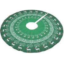 Green Whimsical Christmas Prancing Deer and Lace Brushed Polyester Tree Skirt