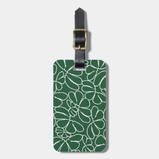 Green Whimsical Ikat Floral Petal Doodle Pattern Bag Tag