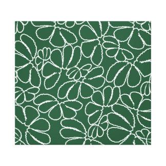 Green Whimsical Ikat Floral Petal Doodle Pattern Canvas Print