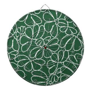 Green Whimsical Ikat Floral Petal Doodle Pattern Dartboard With Darts