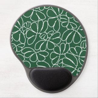 Green Whimsical Ikat Floral Petal Doodle Pattern Gel Mouse Pad