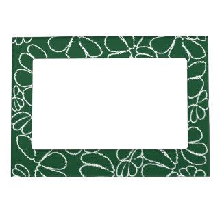 Green Whimsical Ikat Floral Petal Doodle Pattern Magnetic Frame