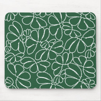 Green Whimsical Ikat Floral Petal Doodle Pattern Mouse Pad