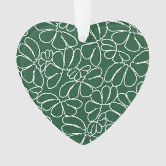 Green Whimsical Ikat Floral Petal Doodle Pattern Ornament