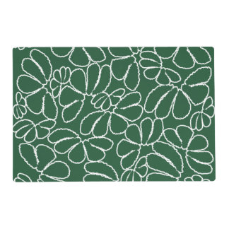 Green Whimsical Ikat Floral Petal Doodle Pattern Placemat