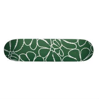 Green Whimsical Ikat Floral Petal Doodle Pattern Skateboard