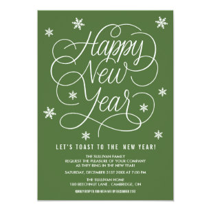 green whimsical new years eve party invitation