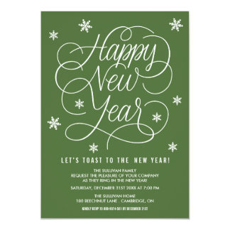 Green Whimsical New Year's Eve Party Invitation