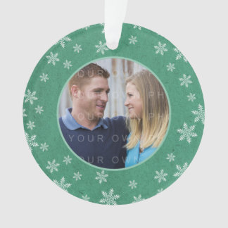 Green Whimsical Snowflakes Holiday Photo Ornament