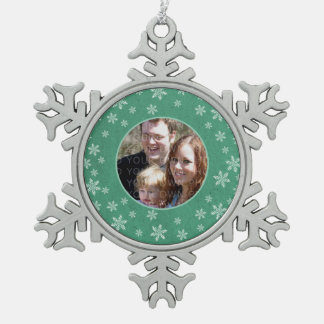 Green Whimsical Snowflakes Photo Pewter Ornament