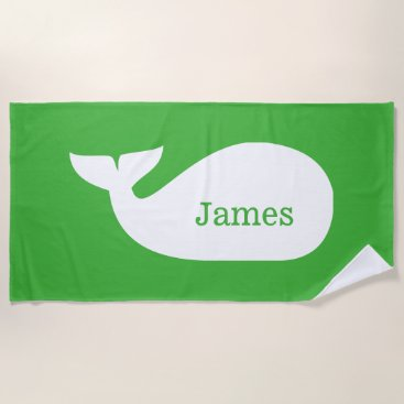 Beach Themed Green Whimsical Whale Personalized Children's Beach Towel