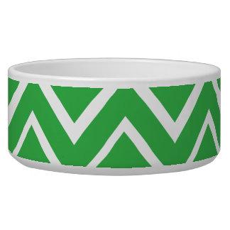 Green whimsical zig zags zigzag chevron pattern bowl