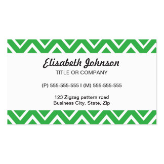 Green whimsical zig zags zigzag chevron pattern Double-Sided standard business cards (Pack of 100)