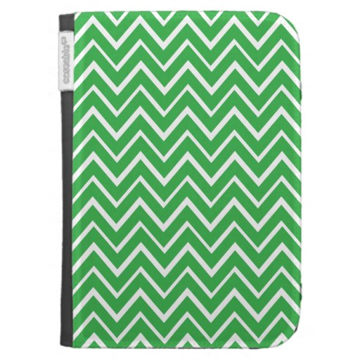 Green whimsical zig zags zigzag chevron pattern case for kindle