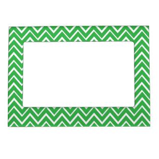 Green whimsical zig zags zigzag chevron pattern magnetic photo frame