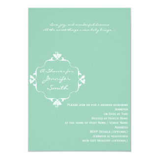 Green Whiote Scroll Frame Baby Boy Shower Card