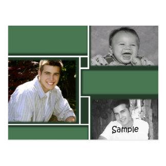 Green & White 3 photo graduation card