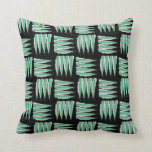 Green & White Abstract Brush strokes Pattern Throw Pillows
