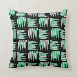 Green & White Abstract Brush strokes Pattern Pillow