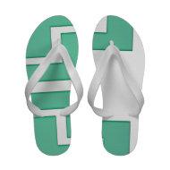 Green White Abstract Summer Flip Flops