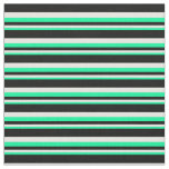 [ Thumbnail: Green, White, and Black Colored Pattern Fabric ]