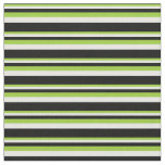 [ Thumbnail: Green, White, and Black Colored Striped Pattern Fabric ]