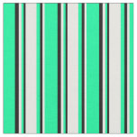 [ Thumbnail: Green, White, and Black Colored Stripes Fabric ]