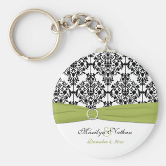 Green, White and Black Damask Keychain