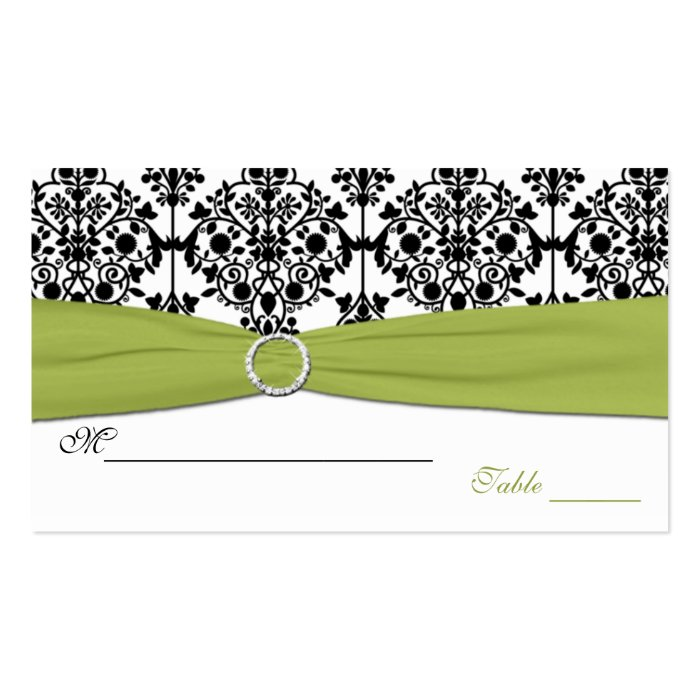 Green, White and Black Damask Placecards Business Card
