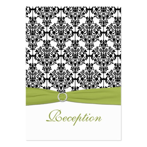 Green, White and Black Damask Reception Card Large Business Cards (Pack Of 100)