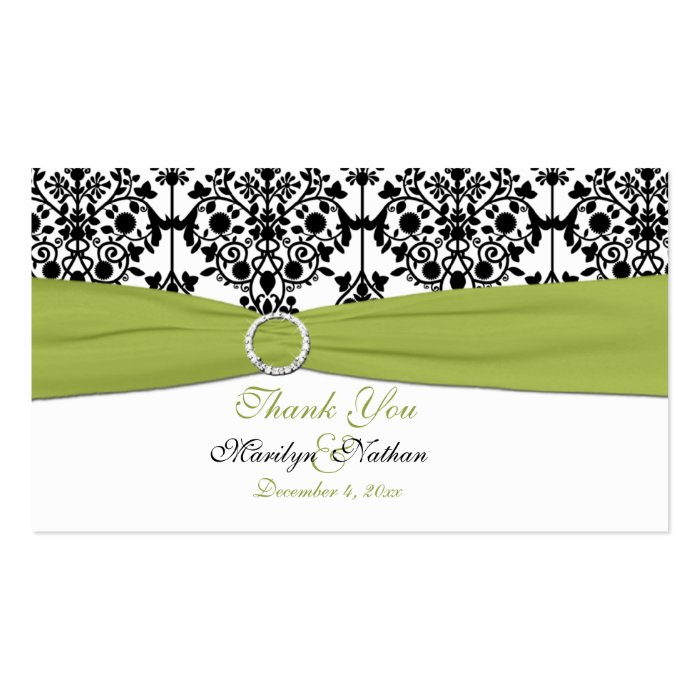 Green, White and Black Damask Wedding Favor Tag Business Card
