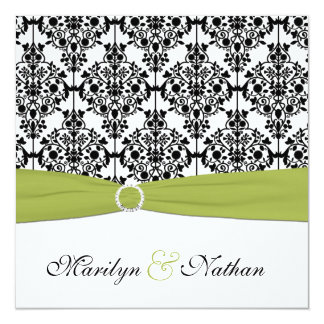 Green, White and Black Damask Wedding Invitation