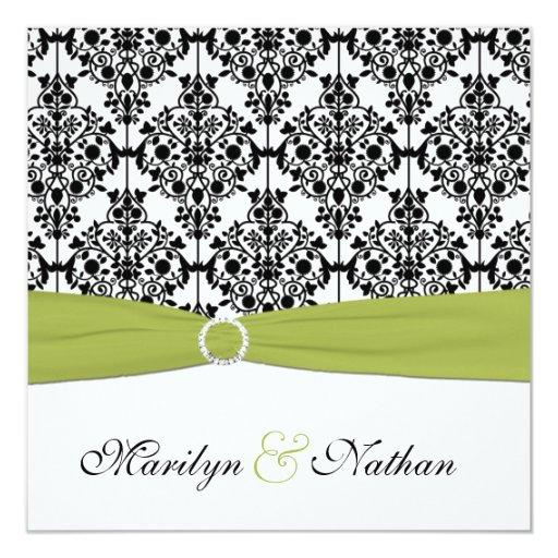 Green, White and Black Damask Wedding Invitation