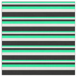 [ Thumbnail: Green, White, and Black Striped Pattern Fabric ]