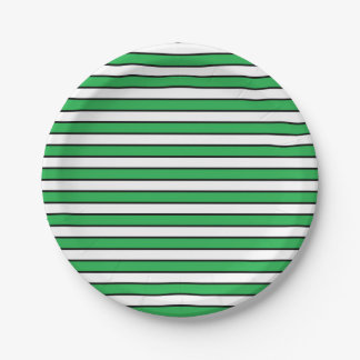 Green, White and Black Stripes Paper Plate