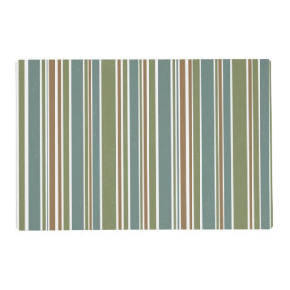 Green white and brown stripes pattern placemat