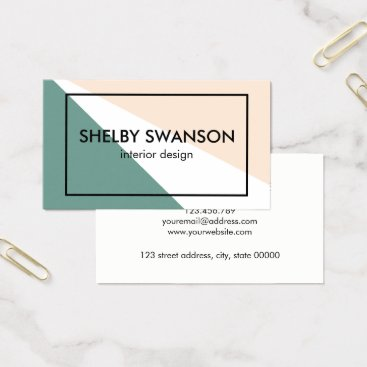 Professional Business Green, White, and Peach Geometric Business Card