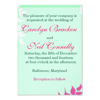 Green White and Pink Leaves Wedding invitation