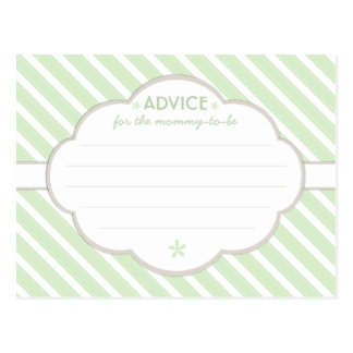 Green | White Baby Shower Advice for Mommy to Be Postcard